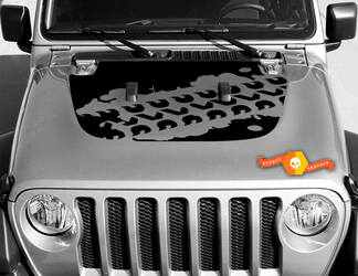 Vinyl decal graphics sticker for hood Wrangler JL 2018 2019 for hood Wrangler graphics sticker Mud Tire Track #2