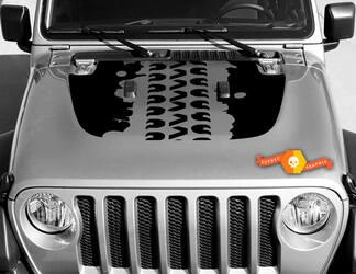 Vinyl Decal Graphics Sticker voor Hood Wrangler JL 2018 2019 voor Hood Wrangler Graphics Sticker Modder Tire Track # 3