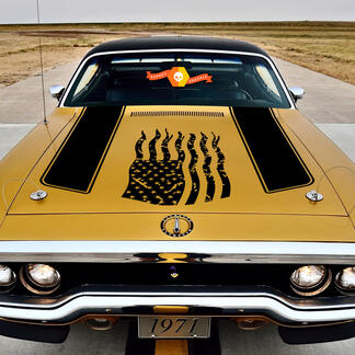 1972 Plymouth Satellite Chrysler American Distressed Flag Decal decal kit vinyl graphic sticker