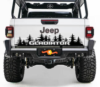 Bed Tailgate Jeep Wrangler JL JLU jls jts Gladiator Rubicon Pine Trees Vinyl Decal for 2018-2021