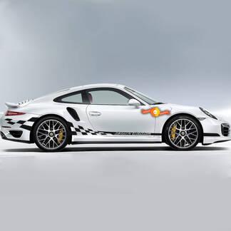Porsche Black Edition Side Сheckered Flag Stripes