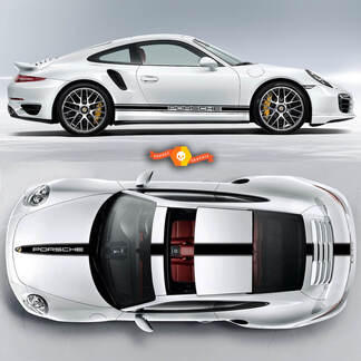 One Color Racing Stripe Over The Top Roof Porsche and Racing Stripes For Carrera Or Any Porsche #1