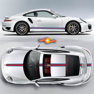 Porsche Martini Racing Stripes For Carrera Cayman  Boxster Or Any Porsche Full Kit #1