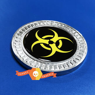 3D Badge Yellow Biohazard Metal Aluminum Bed Side Emblem For Jeep Wrangler JL JK YJ TJ