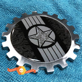 Military Star with Topo lines Metal Aluminum Badge Bedside Emblem Aluminium