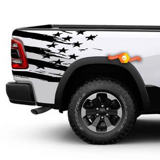 Rebel Side American Flag Distressed Grunge Design Motorhaube Tür Auto Bett Pickup Fahrzeug LKW Vinyl Grafik Aufkleber Heckklappe