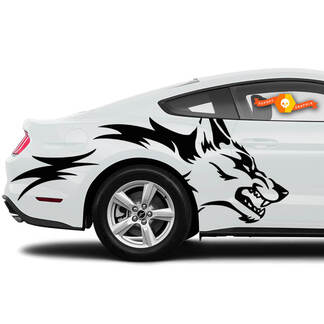 Mustang Ranger Coyote Wolf Grunge Design Tribal Door Bed Side Pickup Vehicle Truck Car Vinyl Graphic Decal Sticker