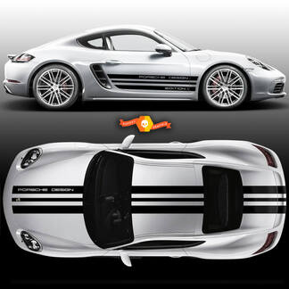 One Color Sport Cup Edition 1 Graphic Decals Kits Racing Stripe Over The Top Roof Porsche and Racing Stripes For Carrera Or Any Porsche