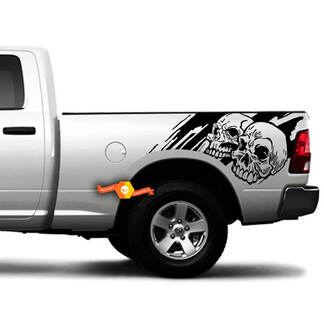 2 Side Skull Distressed Grunge Design Car Side Bed Pickup Vehicle Truck Vinyl Graphic Decal Tailgate