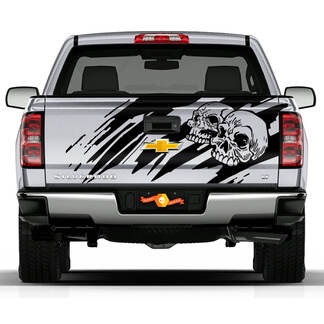 Tailgate Skull Distressed Grunge Design Hood Door Car Bed Pickup Vehicle Truck Vinyl Graphic Decal