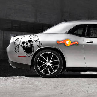 2 Dodge Challenger Schädel Seite Splash Logo Auto Mopar Vinyl Grunge Aufkleber Grafik