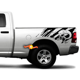 2 Side Skull Distressed Grunge Splash Design Car Side Bed Pickup Vehicle Truck Vinyl Graphic Decal Tailgate