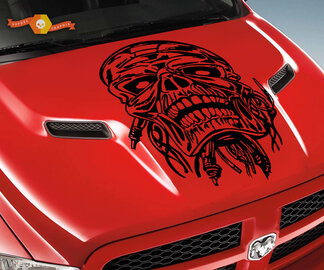 Dodge 2010-2018 Ram Rebel Hood Skull Maiden Wire Logo Truck Vinyl Decal Graphic Pick Up Pickup ram 1500 2500 rebel