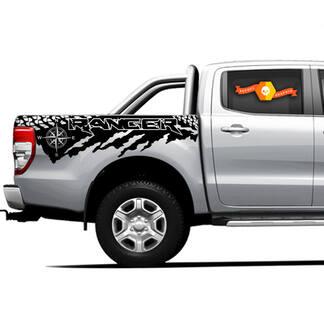 2 X Ranger Raptor Destroyed Tire Tracks Bett Vinyl Aufkleber Neu