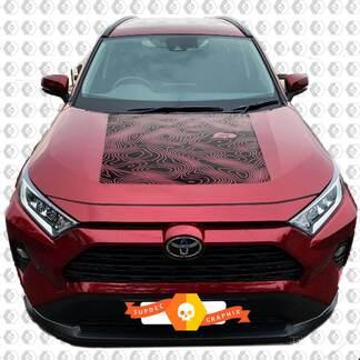 2020 Toyota RAV4 Hood Topografische Karte Grafik Vinyl Aufkleber Aufkleber