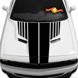 Dodge Challenger Hood T Aufkleber gerippte Challenger Sticker Hood Grafik passt zu den Modellen 09 - 14