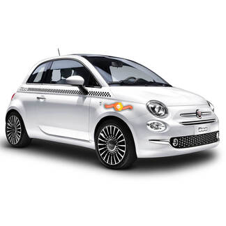 Checkered Side Body Decal Decals Graphics Stripe fits ANY Fiat 500 Abarth