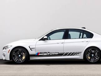 BMW M3 Power 2x Side Stripes Vinyl Decals Sticker BMW