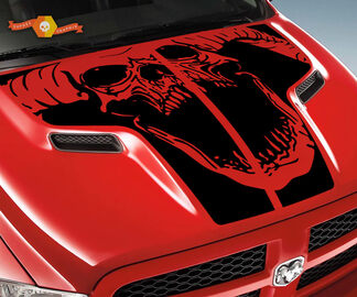 Dodge 2010 2018 fits Ram 1500 2500 Ram Skull Rebel Hood Logo Truck Vinyl Decal Graphic Pick Up Pickup #2