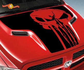 DODGE 2010 2018 Past RAM 1500 2500 Punisher Skull Grunge Hood Logo Truck Vinyl Decal Grafische Pick-up Pickup