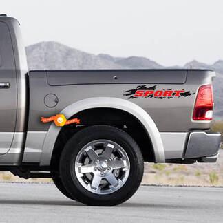 Set van 2 sport 2 kleuren splash splatter bedkant vintage grunge auto pickup voertuig truck vinyl grafische decal tailgat