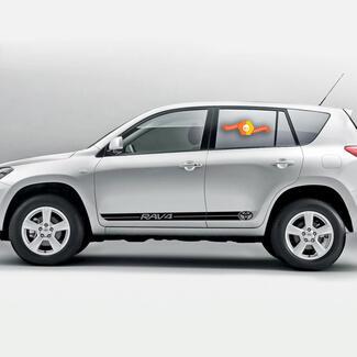 Toyota RAV4 - 2 Stück Seitenstreifen Aufkleber Vinyl Grafik Aufkleber Logo