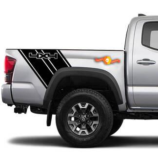 4x4 truckbed strepen Vinyl grafische stickers Past Toyota Tacoma Chevy Dodge