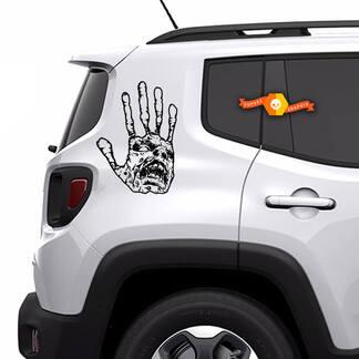 2x Zombie Hand Schädel Apokalypse Untote Horror Fenster Bett SUV Haubentür Grafik Vinyl Aufkleber LKW Auto Pickup Aufkleber