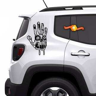 2x Zombie Hand Schädel Apokalypse Untote Horror Fenster Bett Haube Tür Grafik Vinyl Aufkleber LKW Auto Pickup Aufkleber