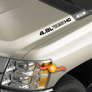 4.8L Vortec High Output three colored Hood Decals Chevrolet Silverado Colorado GMC Sierra Canyon Trucks