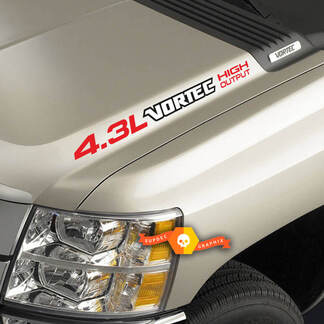 4.3L Vortec High Output three colored Hood Decals Chevrolet Silverado Colorado GMC Sierra Canyon Trucks