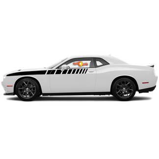 Für 2008-2014 Dodge Challenger halbe Länge Strobe Side Stripes Racing Decals