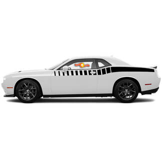 2 Dodge Challenger Strobe Halflengte Bodyline Side Stripes Decals voor 2015-2018