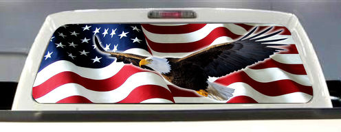 AMERICAN FLAG EAGLE PICK-UP TRUCK REAR WINDOW GRAPHIC DECAL PERFORATED VINYL
