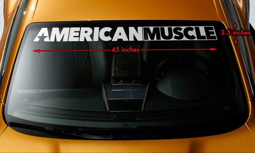 AMERICAN MUSCLE CAR MURICA Windshield Banner Premium Vinyl Decal Sticker 45x3.5
