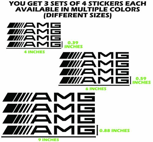 12 AMG MERCEDES DECALS BRAKE CALIPER STICKERS MERCEDES BENZ VINY