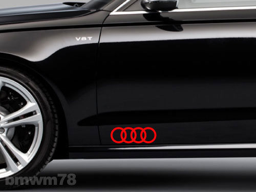2 AUDI Rings Side Trunk Decal Sticker Emblem A4 A5 A6 A8 S4 S5 S