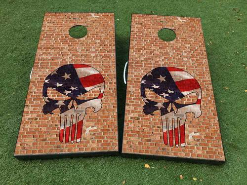 Brick Punisher  Skull  Cornhole Board Game Decal VINYL WRAPS with LAMINATED