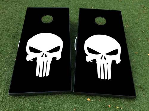 Black White Punisher  Skull  Cornhole Board Game Decal VINYL WRAPS with LAMINATED