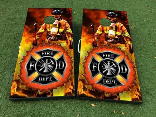 Fire Department firefighter Cornhole Board Game Decal VINYL WRAPS with LAMINATED