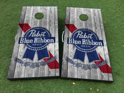 Pabst Blue Ribbon Cornhole Board Game Decal VINYL WRAPS with LAMINATED