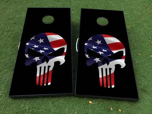 Black Punisher USA flag Cornhole Board Game Decal VINYL WRAPS with LAMINATED