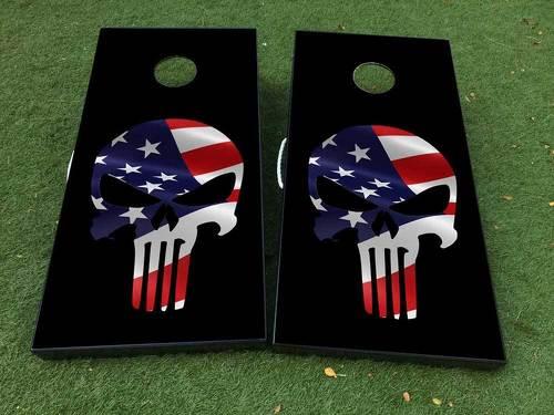 Black Punisher USA Flagge Cornhole Brettspiel Aufkleber VINYL WRAPS mit LAMINIERT