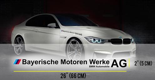Voller Name BMW AG Bayerische Motoren Werke AG M3 M5 E34 E36 E39 E46 E60 E70 E90 HOOD Aufkleber Logo
