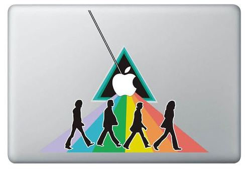 Beatles in colors and apple MacBook Decal Stickers