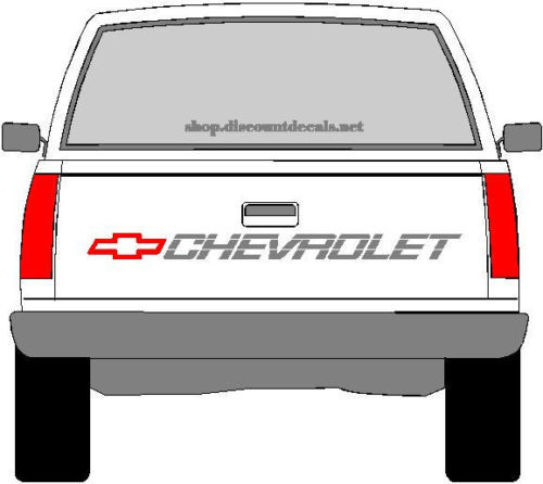 CHEVROLET TRUCK TAILGATE DECAL - RED BOWTIE WITH SILVER LETTERING CHEVY 1500