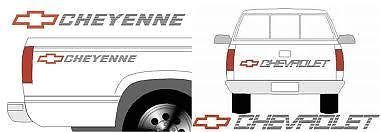 CHEVY CHEYENNE TRUCK TAILGATE & BEDSIDE DECALS - CHEVROLET
