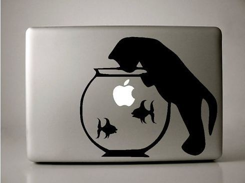 Apple Macbook decal Cat in the Fish Bowl sticker