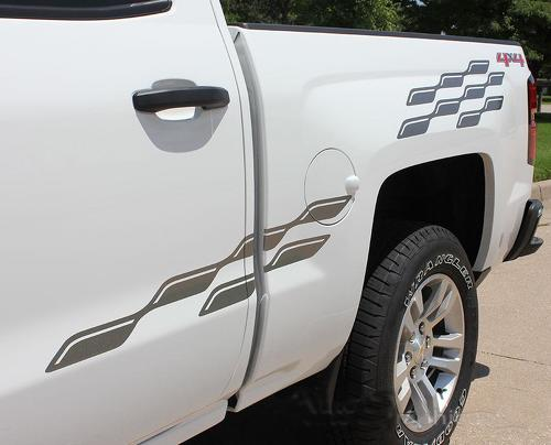 2000-2015 Chevy Silverado GMC Sierra Checker Vinyl Graphics Decals Stripes kit
