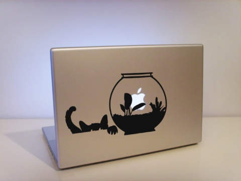 Apple Cat and Aquarium macbook decal sticker